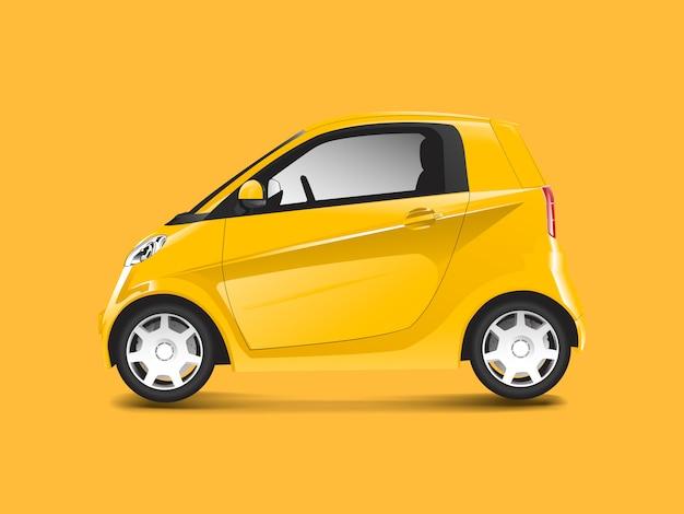 Żółty kompaktowy samochód hybrydowy wektor