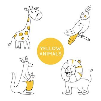 Żółty kontur zwierząt na białym tle.