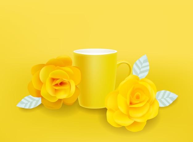 Żółty kubek i kwiaty wektor realistyczne. letnie dekoracje ustawia ilustracje