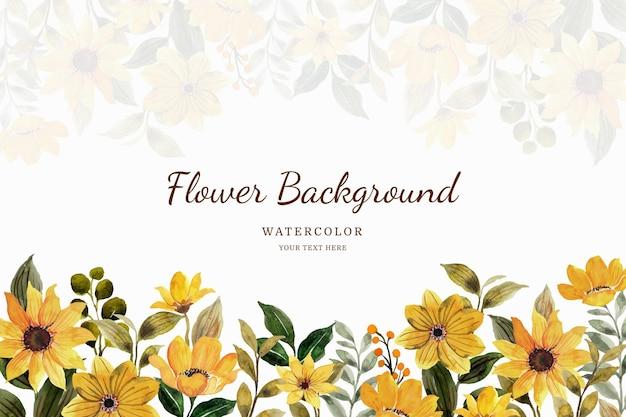 Żółty kwiat ogród tło z akwarelą