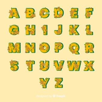 Żółty kwiatowy alfabet w stylu lat 60-tych