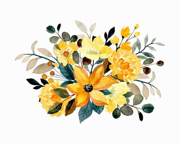 Żółty kwiatowy bukiet akwarela