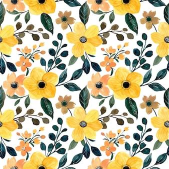 Żółty kwiatowy wzór akwarela