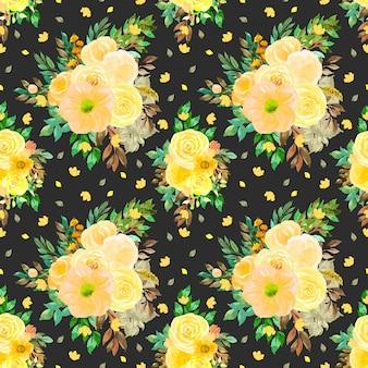 Żółty kwiatowy wzór z bukietem kwiatów