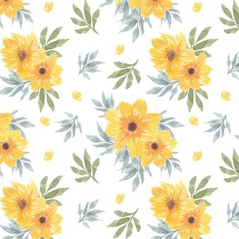 Żółty kwiatowy wzór z kwiatami stokrotki