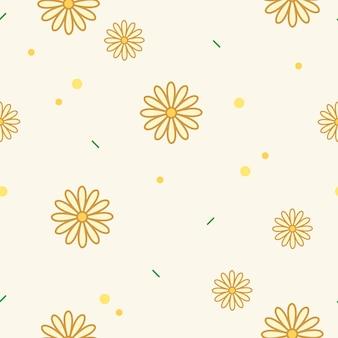 Żółty kwiatowy wzór