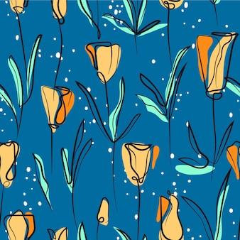 Żółty kwitnący kwiat wzór z ciągłą grafiką
