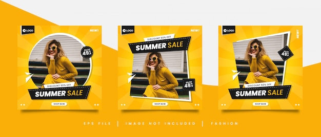 Żółty lato sprzedaż mediów społecznościowych szablon postu