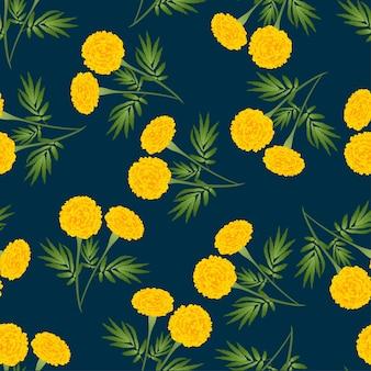 Żółty nagietek bez szwu na ciemnym niebieskim tle.