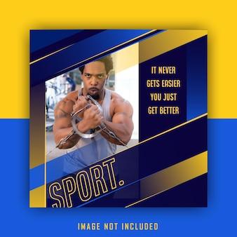 Żółty niebieski sportowy sportowy szablon postu na instagramie w mediach społecznościowych