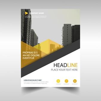 Żółty oszczędny raport roczny szablon okładki książki