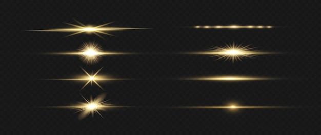 Żółty pakiet odblasków do poziomych soczewek. wiązki laserowe, poziome promienie światła.