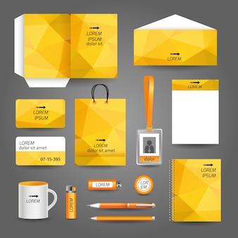 Żółty papeterii korporacyjnych z geometrycznym wzorem