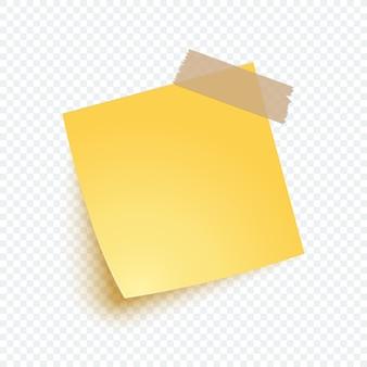 Żółty papier firmowy w realistycznym stylu. pusta notatka z nalepką przypominającą, listę, informacje.