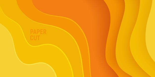 Żółty papier wyciąć transparent z 3d szlam streszczenie tło i warstwy żółte fale.