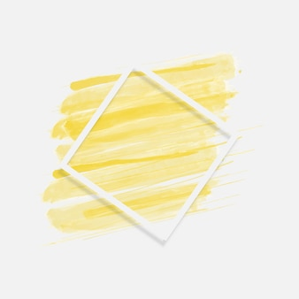 Żółty pędzel z tłem linii prostokąt ramki. ilustracja wektorowa. abstrakcyjne tło.