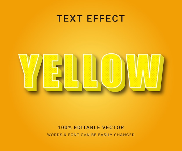Żółty pełny edytowalny efekt tekstowy