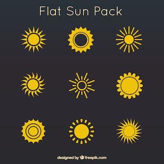 Żółty płaskim słońca paczka