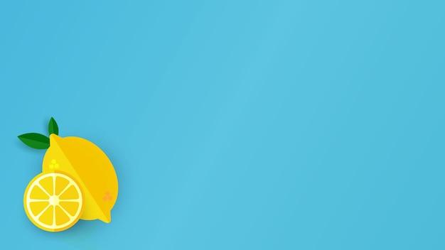 Żółty plasterek cytryny na jasnym niebieskim tle.