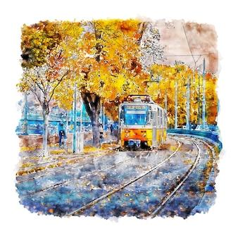 Żółty pociąg budapeszt akwarela szkic ręcznie rysowane ilustracji