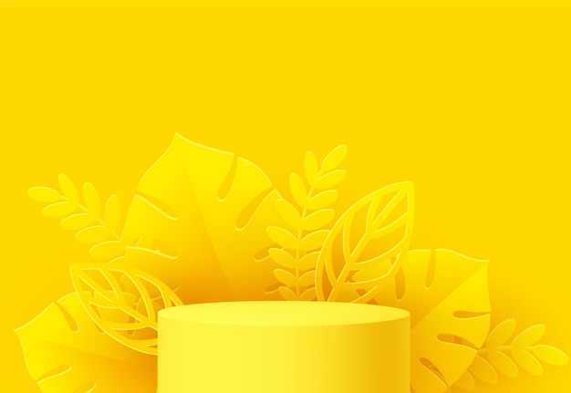 Żółty podium produktu z wyciętym z papieru liściem monstery na żółtym tle