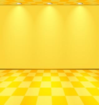 Żółty pokój oświetlony