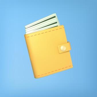 Żółty portfel z gotówką na niebiesko