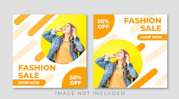 Żółty promocja sprzedaży mody instagram post szablon