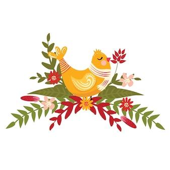 Żółty ptak zimą z szalikiem i kwiatami