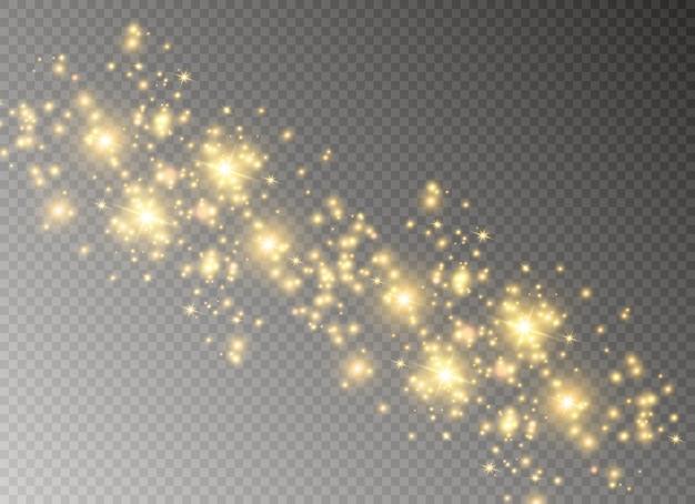 Żółty pył. efekt bokeh. piękne błyski światła. cząsteczki kurzu latają w kosmosie. poziome promienie światła. świecące smugi kurzu na przezroczystym tle.