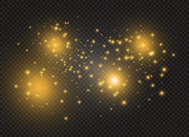 Żółty pył. piękne błyski światła. cząsteczki kurzu. efekt bokeh.