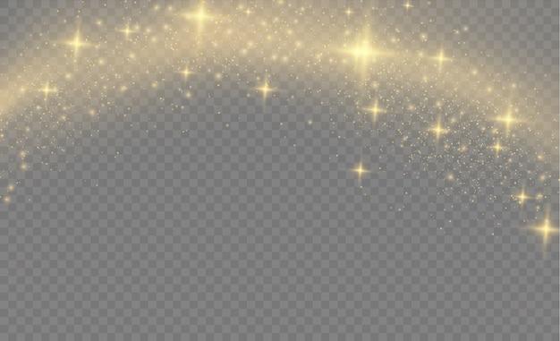 Żółty pył, żółte iskry i złote gwiazdy lśnią specjalnym światłem.