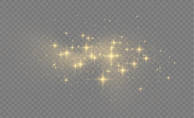 Żółty pył, żółte iskry i złote gwiazdy świecą ilustracją