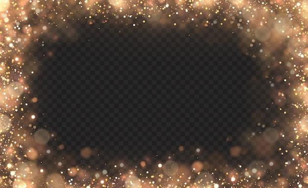 Żółty pył, żółte iskry i złote gwiazdy świecą specjalnym światłem. efekt bokeh światła jest izolowany na przezroczystym tle. lśniące, magiczne cząsteczki kurzu.
