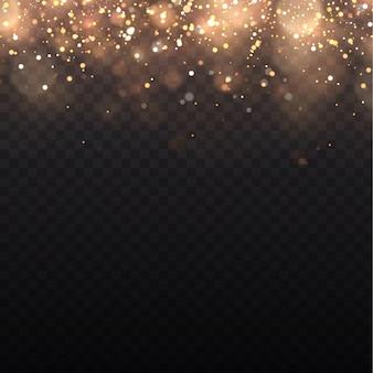 Żółty pył, żółte iskry i złote gwiazdy świecą specjalnym światłem. efekt bokeh światła jest izolowany na przezroczystym tle. lśniące magiczne cząsteczki pyłu.
