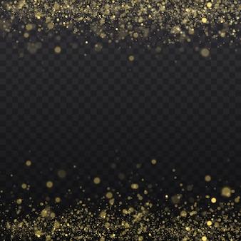 Żółty pył, żółte iskry i złote gwiazdy świecą specjalnym światłem. streszczenie stylowy efekt świetlny na przezroczystym tle. iskierki magiczne cząsteczki pyłu.