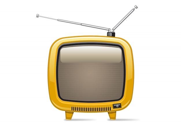 Żółty retro tv