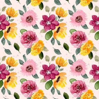 Żółty różowy kwiat akwarela bezszwowe wzór