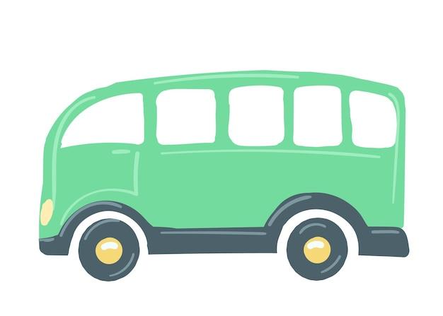 Żółty samochód autobus na białym tle samochód ręcznie rysowane stylu cartoon ilustracji wektorowych transportu publicznego