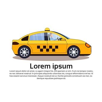 Żółty samochód cab na białym tle
