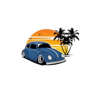 Żółty samochód i zachód słońca
