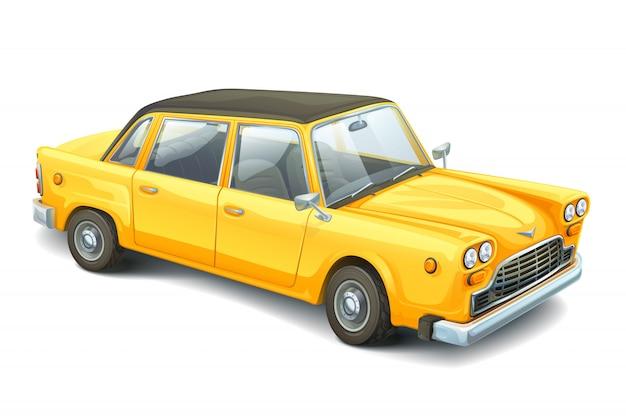 Żółty samochód kreskówka w stylu retro