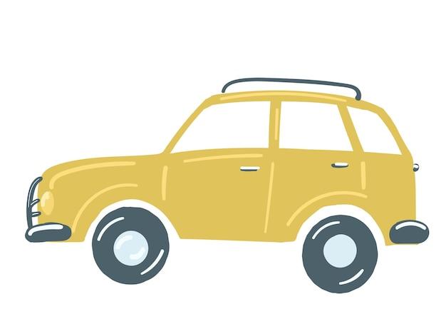 Żółty samochód osobowy suv izolowany samochód z bagażnikiem dachowym ręcznie rysowane ilustracji wektorowych w stylu kreskówki
