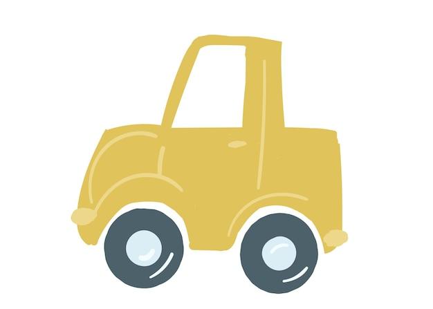 Żółty samochód sedan na białym tle samochód z pnia ręcznie rysowane ilustracji wektorowych w stylu kreskówki