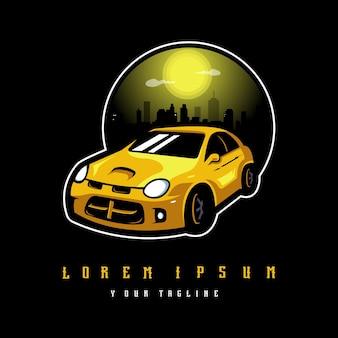 Żółty samochód sportowy na czarnym wektorze dla logo zespołu