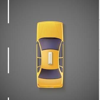 Żółty samochód, taksówka, taksówka. widok z góry.