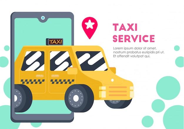 Żółty samochód usługi transportowe taxi wektor