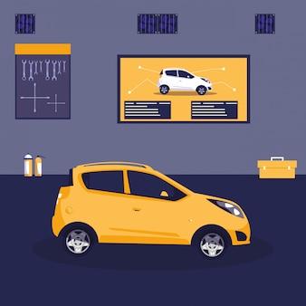 Żółty samochód w warsztacie konserwacji