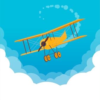Żółty samolot lecący w błękitne niebo