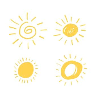 Żółty słońce doodle